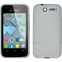 Housse etui coque silicone gel pour Alcatel One Touch Pop C1 4016D + film ecran - BLANC