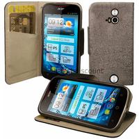 Housse etui coque pochette portefeuille pour Acer Liquid E2 Duo + film ecran - NOIR