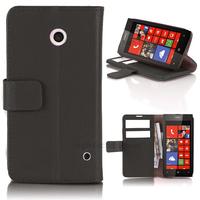 Housse etui coque pochette portefeuille PU cuir pour Nokia Lumia 630 635 + film ecran - NOIR
