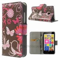 Housse etui coque pochette portefeuille PU cuir pour Nokia Lumia 630 635 + film ecran - FLEURS N