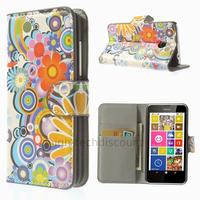 Housse etui coque pochette portefeuille PU cuir pour Nokia Lumia 630 635 + film ecran - FLEURS C