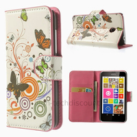 Housse etui coque pochette portefeuille PU cuir pour Nokia Lumia 630 635 + film ecran - PAPILLONS