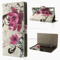 Housse etui coque pochette portefeuille PU cuir pour Sony Xperia T3 + film ecran - LOTUS
