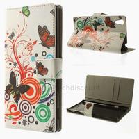 Housse etui coque pochette portefeuille PU cuir pour Sony Xperia T3 + film ecran - PAPILLONS