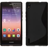 Housse etui coque pochette silicone gel fine pour Huawei Ascend P7 + film ecran - NOIR
