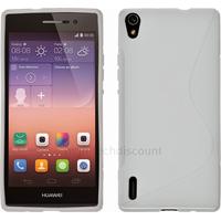 Housse etui coque pochette silicone gel fine pour Huawei Ascend P7 + film ecran - BLANC