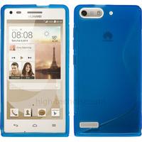 Housse etui coque silicone gel fine pour Huawei Ascend G6 (P6 Mini) + film ecran - BLEU