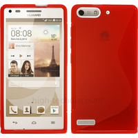 Housse etui coque silicone gel fine pour Huawei Ascend G6 (P6 Mini) + film ecran - ROUGE