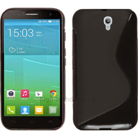Housse etui coque pochette silicone gel fine pour Alcatel One Touch Idol 2S 6050 - NOIR