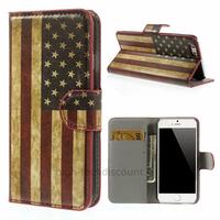 Housse etui coque pochette portefeuille PU cuir pour Apple iPhone 6S (4.7 pouces) + film ecran - USA
