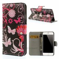 Housse etui coque pochette portefeuille PU cuir pour Apple iPhone 6S (4.7 pouces) + film ecran - FLEURS N