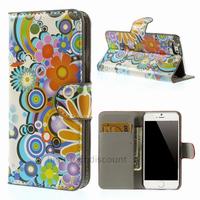 Housse etui coque pochette portefeuille PU cuir pour Apple iPhone 6S (4.7 pouces) + film ecran - FLEURS C