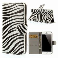 Housse etui coque pochette portefeuille PU cuir pour Apple iPhone 6S (4.7 pouces) + film ecran - ZEBRE