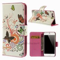 Housse etui coque pochette portefeuille PU cuir pour Apple iPhone 6S (4.7 pouces) + film ecran - PAPILLONS