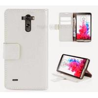 Housse etui coque pochette portefeuille PU cuir pour LG G3 + film ecran - BLANC