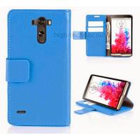 Housse etui coque pochette portefeuille PU cuir pour LG G3 + film ecran - BLEU