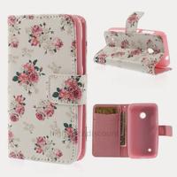 Housse etui coque pochette portefeuille PU cuir pour Nokia Lumia 530 + film ecran - ROSE FLEURS