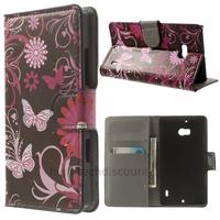 Housse etui coque pochette portefeuille PU cuir pour Nokia Lumia 930 + film ecran - FLEURS N