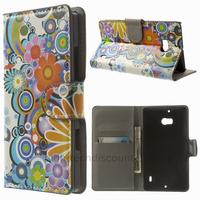 Housse etui coque pochette portefeuille PU cuir pour Nokia Lumia 930 + film ecran - FLEURS C