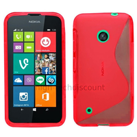 Housse etui coque pochette silicone gel fine pour Nokia Lumia 530 + film ecran - ROUGE