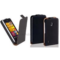 Housse etui coque pochette PU cuir fine pour Nokia Lumia 530 + film ecran - NOIR