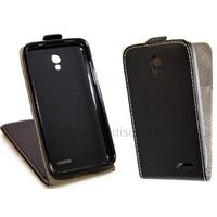 Housse etui coque PU cuir fine pour Alcatel One Touch Pop S3 5050D + film ecran - NOIR