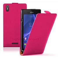Housse etui coque pochette PU cuir fine pour Sony Xperia T3 + film ecran - ROSE