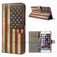 Housse etui coque portefeuille PU cuir pour Apple iPhone 6S Plus (5.5 pouces) + film ecran - USA