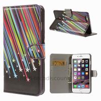 Housse etui coque portefeuille PU cuir pour Apple iPhone 6S Plus (5.5 pouces) + film ecran - ETOILES