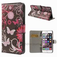 Housse etui coque portefeuille PU cuir pour Apple iPhone 6 Plus (5.5 pouces) + film ecran - FLEURS N