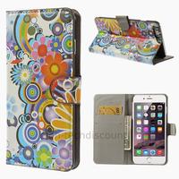 Housse etui coque portefeuille PU cuir pour Apple iPhone 6 Plus (5.5 pouces) + film ecran - FLEURS C