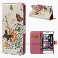 Housse etui coque portefeuille PU cuir pour Apple iPhone 6 Plus (5.5 pouces) + film ecran - PAPILLONS