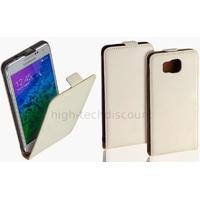 Housse etui coque pochette PU cuir fine pour Samsung Galaxy Alpha G850F + film ecran - BLANC