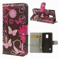 Housse etui coque portefeuille PU cuir pour Samsung Galaxy S5 Mini G800F + film ecran - FLEURS N