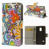 Housse etui coque portefeuille PU cuir pour Samsung Galaxy S5 Mini G800F + film ecran - FLEURS C