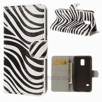 Housse etui coque portefeuille PU cuir pour Samsung Galaxy S5 Mini G800F + film ecran - ZEBRE