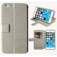 Housse etui coque pochette portefeuille pour Apple iPhone 6S Plus (5.5 pouces) + film ecran - BLANC