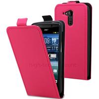 Housse etui coque pochette simili cuir fine pour Acer Liquid E700 + film ecran - ROSE
