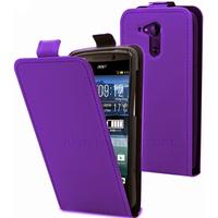 Housse etui coque pochette simili cuir fine pour Acer Liquid E700 + film ecran - MAUVE