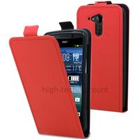 Housse etui coque pochette simili cuir fine pour Acer Liquid E700 + film ecran - ROUGE
