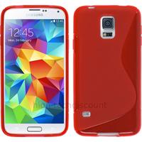 Housse etui coque silicone gel fine pour Samsung Galaxy S5 Mini G800F + film ecran - ROUGE