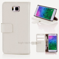 Housse etui coque pochette portefeuille PU cuir pour Samsung Galaxy Alpha G850F + film ecran - BLANC