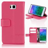 Housse etui coque pochette portefeuille PU cuir pour Samsung Galaxy Alpha G850F + film ecran - ROSE