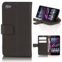 Housse etui coque pochette portefeuille PU cuir pour Sony Xperia Z3 Compact + film ecran - NOIR
