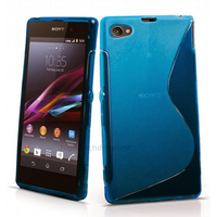 Housse etui coque pochette silicone gel fine pour Sony Xperia Z3 Compact + film ecran - BLEU