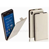 Housse etui coque pochette PU cuir fine pour Sony Xperia Z3 + film ecran - BLANC