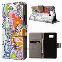 Housse etui coque portefeuille PU cuir pour Samsung Galaxy Alpha G850F + film ecran - FLEURS C
