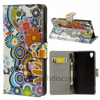 Housse etui coque pochette portefeuille PU cuir pour Sony Xperia Z3 + film ecran - FLEURS C