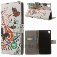 Housse etui coque pochette portefeuille PU cuir pour Sony Xperia Z3 + film ecran - PAPILLONS