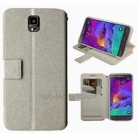 Housse etui coque pochette portefeuille pour Samsung G910F Galaxy Note 4 + film ecran - BLANC